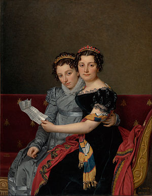 Zénaïde Bonaparte - Zénaïde Bonaparte (in front) and her sister Charlotte, commissioned during the winter of 1821, by David.