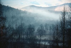 Lamoille River - Fog in the Lamoille River valley in Hyde Park, Vermont