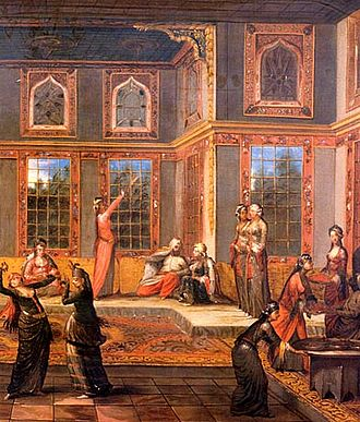 Slavery in the Ottoman Empire - An 18th-century painting of the harem of Sultan Ahmed III, by Jean Baptiste Vanmour.