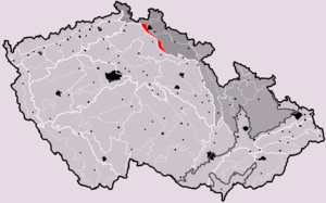 Ještěd-Kozákov Ridge - Ještěd-Kozákov Ridge (in red) within geomorphological division of the Czech Republic