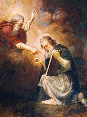 Ten Commandments in Catholic theology - Moses Receives the Tablets of the Law (painting by João Zeferino da Costa, 1868)
