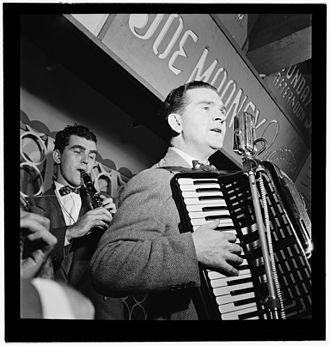 Joe Mooney (musician) - Joe Mooney (right) and Andy Fitzgerald, New York, ca. October 1946.  Photograph by William P. Gottlieb