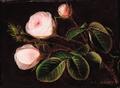 Johan Laurentz Jensen - Tre lyserøde roser på mørk baggrund.png