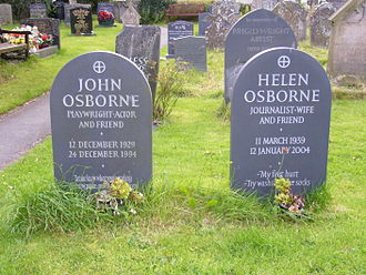 John Osborne - Graves of Osborne and his fifth wife in Clun churchyard