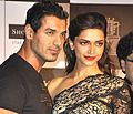 John Abraham and Deepika Padukone unveiling DESI BOYZ clothing line at Shoppers Stop.jpg