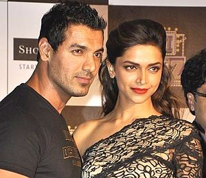 John Abraham (actor) - Abraham with Deepika Padukone during Desi Boyz promotions, 2011.