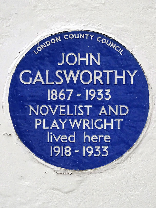 John Galsworthy blue plaque - John Galsworthy (1867-1933), novelist and Playwright, lived here 1918-1933.