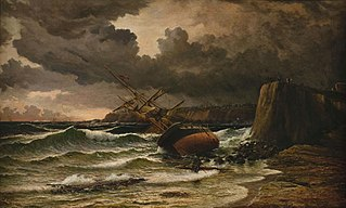 After the storm (Timaru Beach 1882, showing the wreck of the ships Benvenue and City of Perth, 1883)