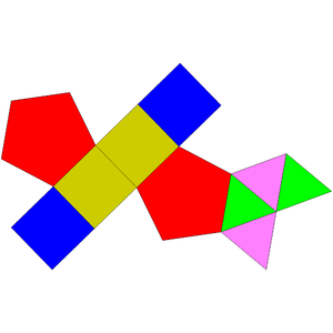 Augmented pentagonal prism - Image: Johnson solid 52 net