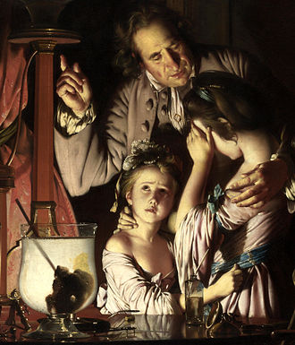 Two Girls Dressing a Kitten by Candlelight - Image: Joseph Wright of Derby. An Experiment on a Bird in the Air Pump. Detail.child