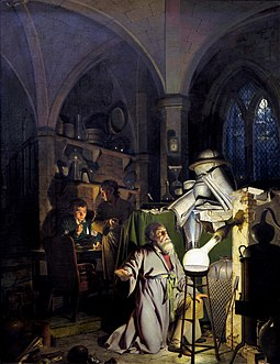 The Alchemist in Search of the Philosophers Stone (1771), by Joseph Wright, depicting Hennig Brand discovering phosphorus. Joseph Wright of Derby The Alchemist.jpg