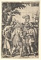 Joseph sold to the merchants- a bearded man grasping Joseph with his left hand receives coins in his right hand, from the series 'The Story of Joseph' MET DP828516.jpg