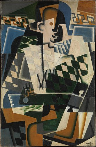 Crystal Cubism - Juan Gris, 1917, Arlequin à la Guitare (Harlequin with a Guitar), oil on panel, 101 × 65.1 cm, Metropolitan Museum of Art