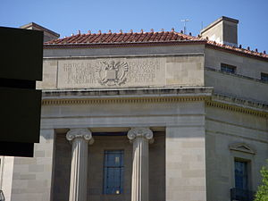 Robert F. Kennedy Department of Justice Building - Façade of the building showing the inscription