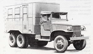 GMC CCKW 2½-ton 6x6 truck - Van body with canvas roof and doors in place