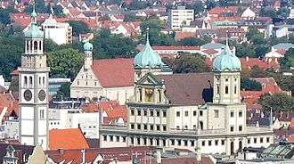 Augsburg Town Hall - View from the Dorint Hotel Tower