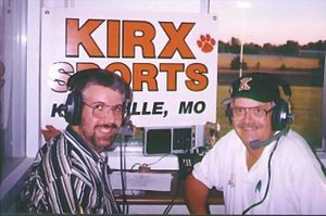 KIRX - The KIRX Sports team, Steve Eklof (l) and John McConnell (r) broadcasting a Kirksville High School football game, a KIRX tradition for over sixty years.