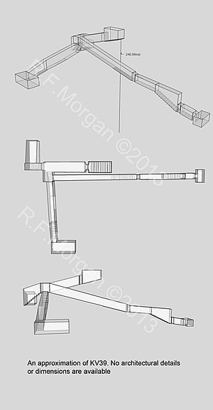 KV39 - Isometric, plan and elevation images of KV39 taken from a 3d model