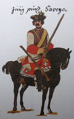 Imperial Army (Holy Roman Empire) - An imperial cuirassier in the War of the Polish Succession before Philippsburg in 1734 (The Young Savoys – contemporary Gudenus manuscript)