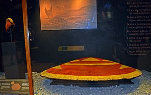 ʻAhu ʻula - The feather cape given to Captain Cook.
