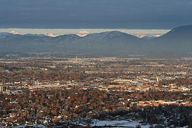 Kalispell MT looking toward Glacier National Park from Lone Pine State Park January 27 2010.JPG