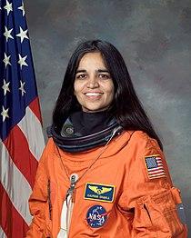 Kalpana Chawla, NASA photo portrait in orange suit.jpg