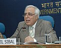"Kapil Sibal interacting with media about the signing of MoU between Ministry of Science and Technology, Ministry of Earth Sciences and HSBC for launching the ""Earth Sciences Forum"", in New Delhi on April 21, 2008.jpg"