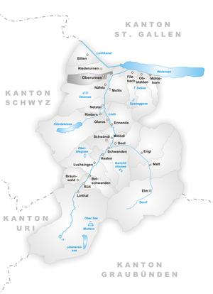 Oberurnen - Image: Karte Gemeinde Oberurnen