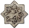 Kashan lustre-decorated star tile, Central Persia, circa 1300, Christie's sale 2835 Dec. 2009.jpg