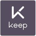 Верхняя часть изображения содержит букву K белого цвета.  В нижней части изображения белые буквы «K», «e», «e» и «p».