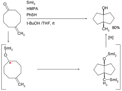 Ketone olefin cyclization
