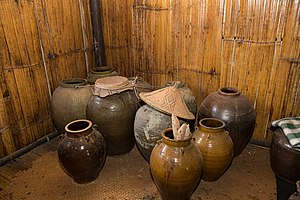 Alcohol in Malaysia - Jars for the making of the traditional rice wine of tapai in Sabah.