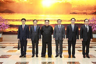 Sunshine Policy - Kim Jong-un meeting with South Korean envoys at the Workers' Party of Korea main building, 6 March 2018