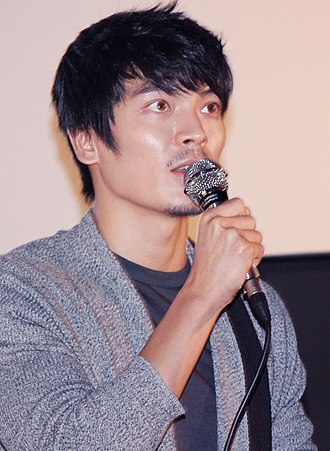 """Kim Sung-oh - Image: Kim Sung oh at """"Tough as Iron"""" stage greeting in Busan, 5 October 2013"""