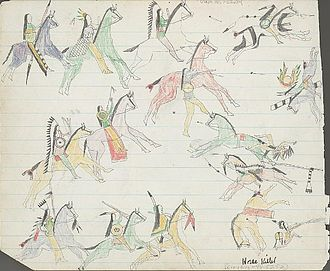 Kiowa - Ledger drawing of Kiowas engaging in horse mounted warfare with traditional enemy forces, 1875.