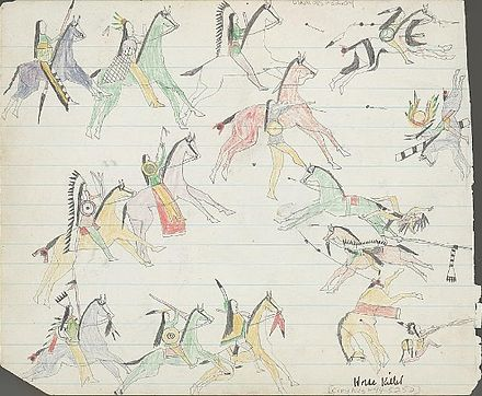 Ledger drawing of Kiowas engaging in horse mounted warfare with traditional enemy forces. - Kiowa
