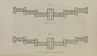 Kirkbride Plan - Floor plan for the Kirkbride design from an 1854 lithograph