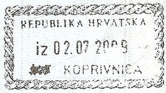 Koprivnica - Passport stamp from the border with Hungary