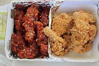Korean fried chicken - Banban (half seasoned and half plain) chicken