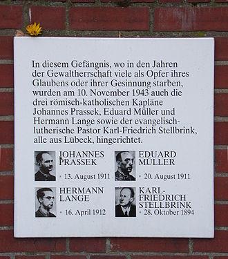 Karl Friedrich Stellbrink - Memorial of four Lübeck martyrs in Hamburg