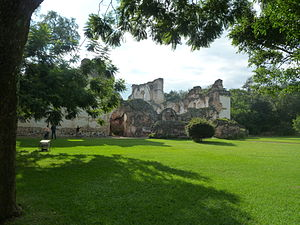 La Recolección Architectural Complex - View of the park and remnants of the church at La Recolección Architectural Complex