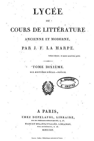 File:La Harpe - Lycée ou cours de littérature ancienne et moderne, tome 10.djvu
