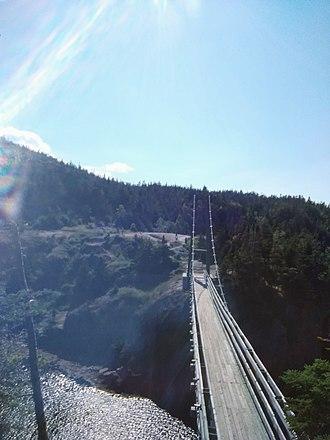 East Coast Trail - The La Manche suspension bridge