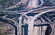 The Judge Harry Pregerson Interchange, connecting the Century Freeway (I-105) and the Harbor Freeway (I-110) in Los Angeles, California