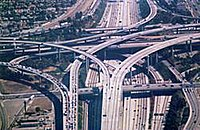 Stacked interchange in Los Angeles, California, USA.