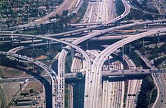 Overpass - The Judge Harry Pregerson Interchange with the Harbor Freeway (I-110) in Los Angeles.