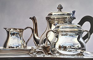 Hyperrealism (visual arts) - La hora del té by Magda Torres Gurza (oil on canvas, 90x140 cm).