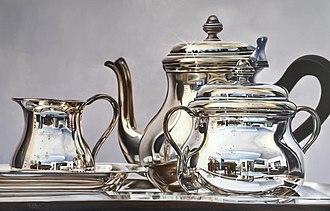 Hyperrealism (visual arts) - La hora del té by Magda Torres Gurza (oil on canvas, 90x140 cm).