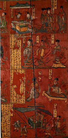 Four panels arranged vertically, showing various Chinese scenes, the bottom panel showing an emperor riding in a palanquin, with a lady walking behind
