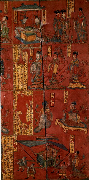 Admonitions Scroll - Image: Lacquer painting over wood, Northern Wei